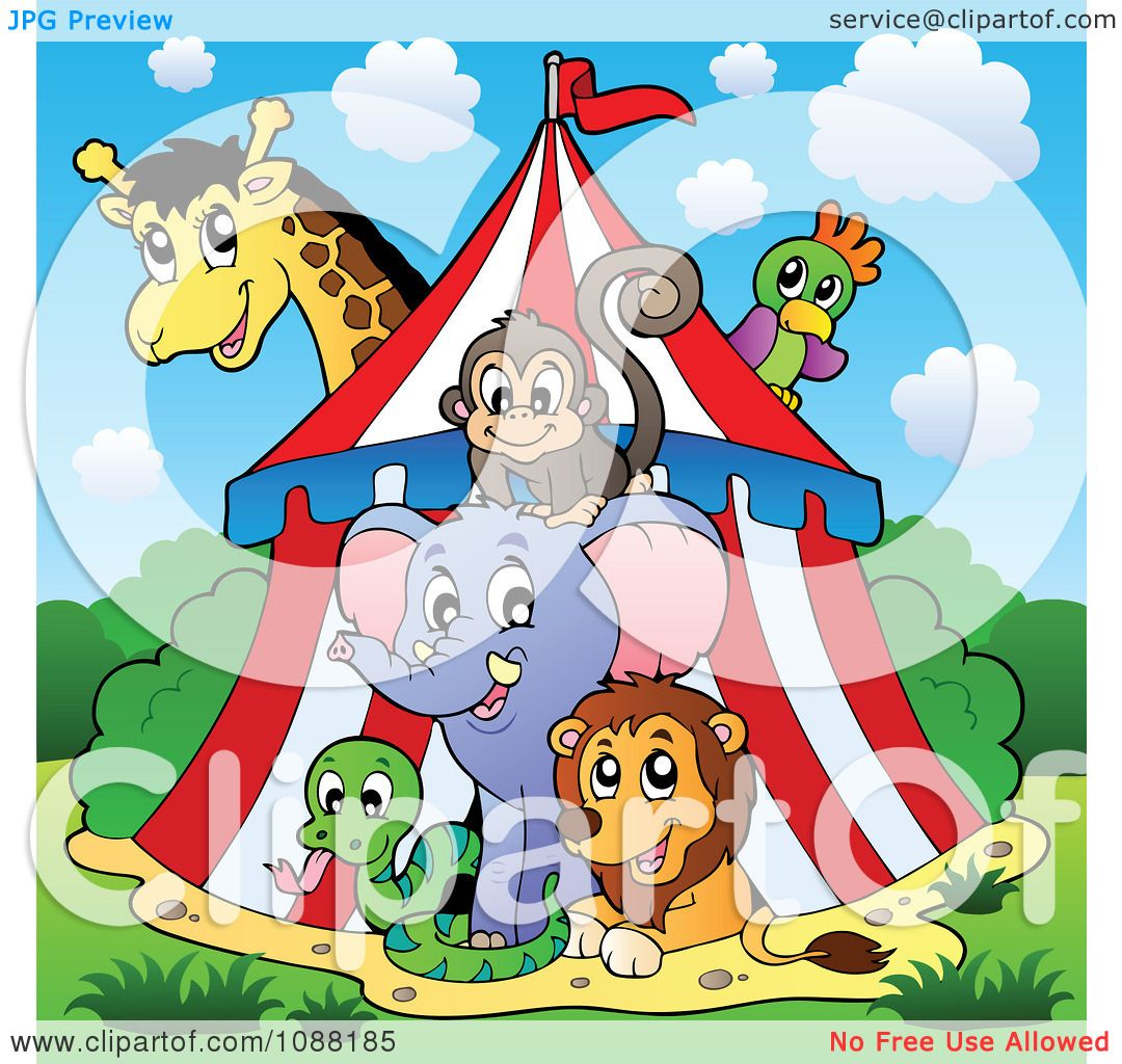 Vintage Circus Animal Clipart Clipart circus animals in a