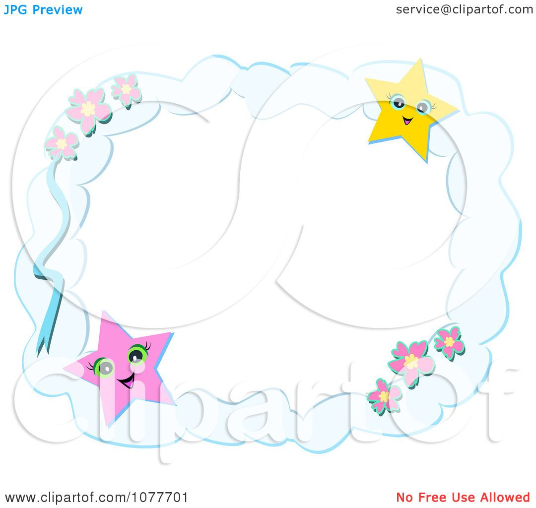 clipart cloud frame with flowers and stars royalty free vector illustration by bpearth