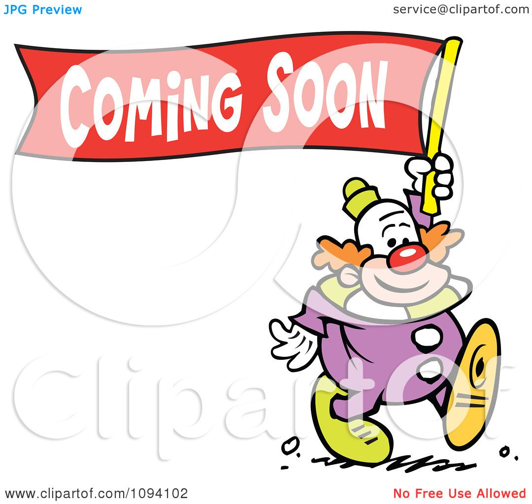 Clipart Clown Carrying A Coming Soon Banner - Royalty Free Vector ...