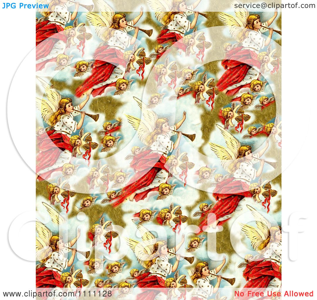 Clipart Collage Pattern Of Victorian Christmas Angels - Royalty ...