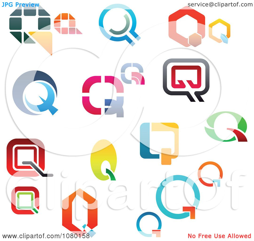 Clipart Colorful Abstract Letter Q Logos