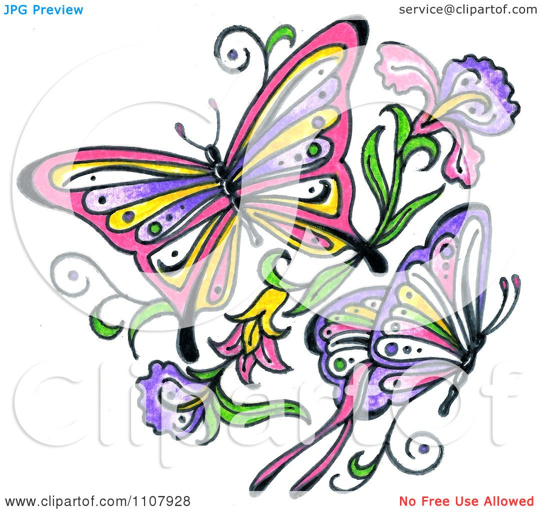 Clipart Colorful Asian Butterflies With Flowers - Royalty Free ...