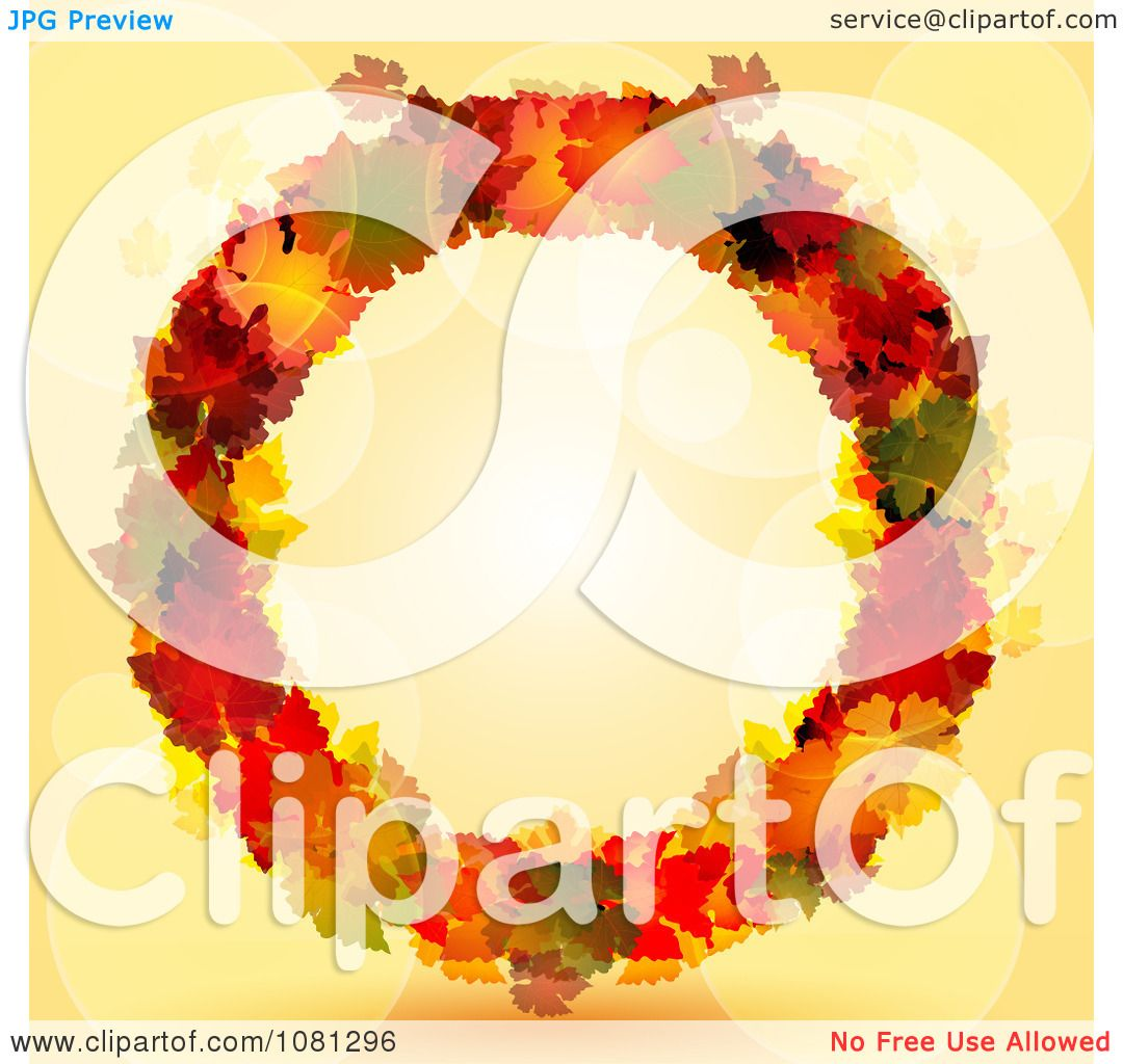 Clipart Colorful Autumn Leaf Thanksgiving Wreath Over