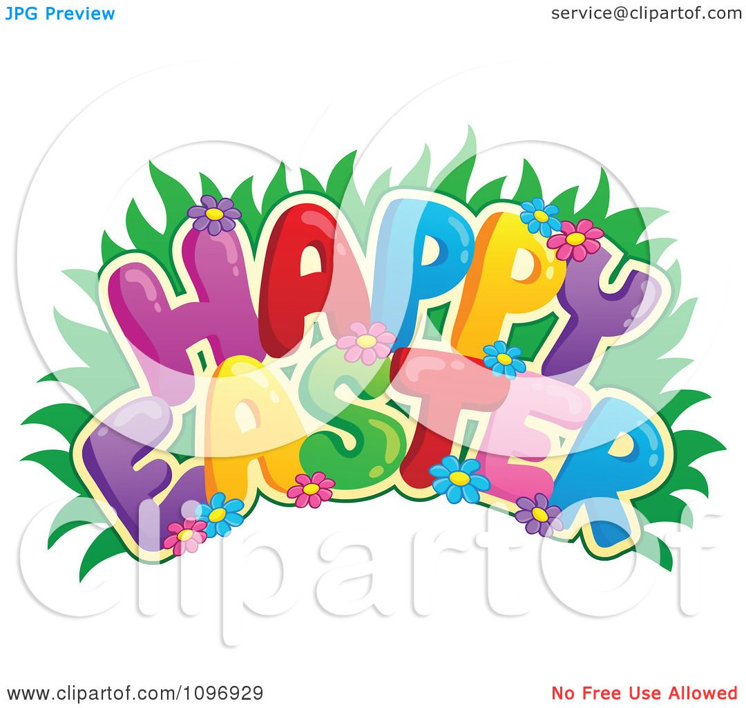 Clipart Colorful Happy Easter Greeting With Grass And ...