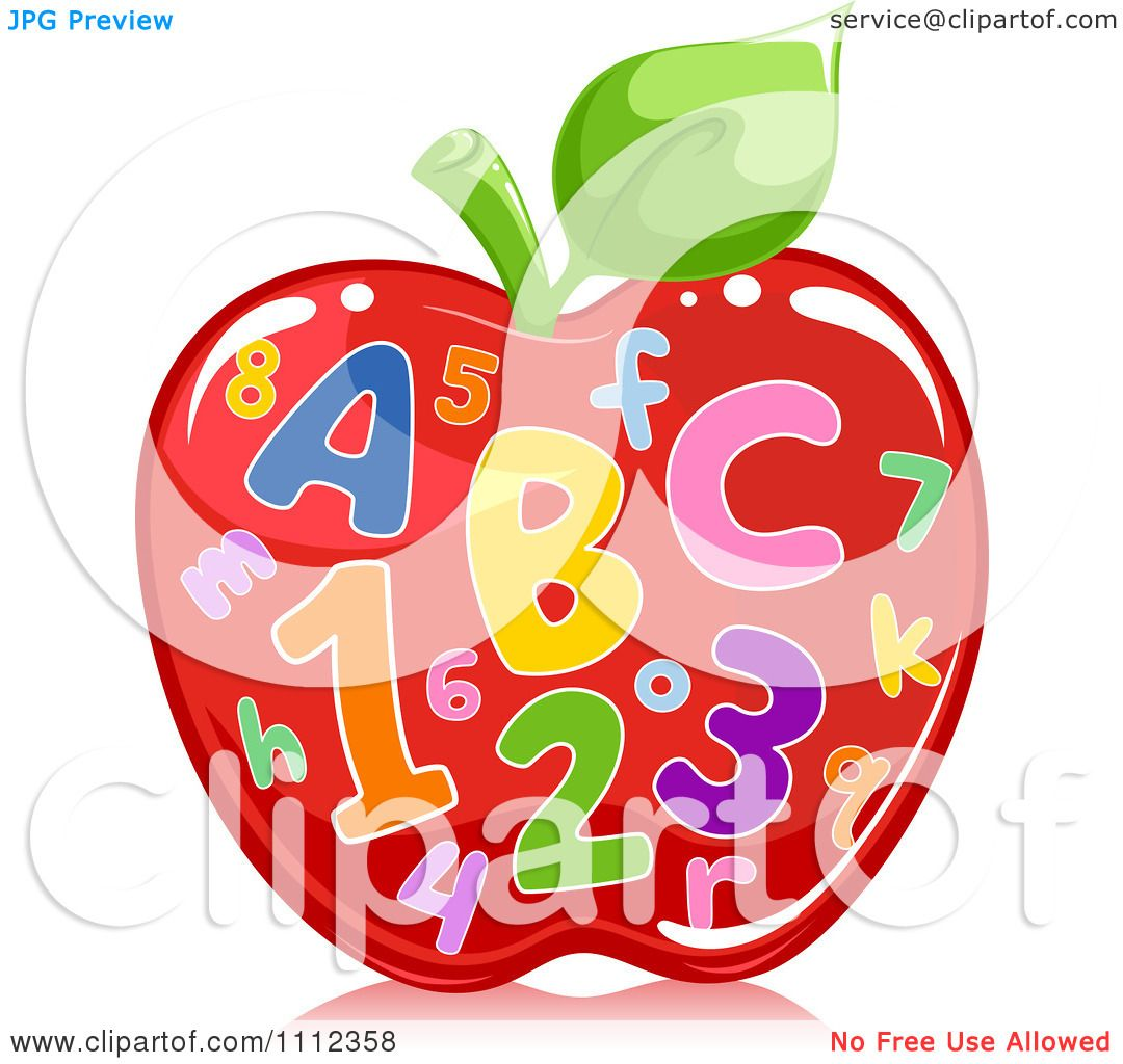 Clipart Colorful Letters And Numbers On A Shiny Red Apple - Royalty ...