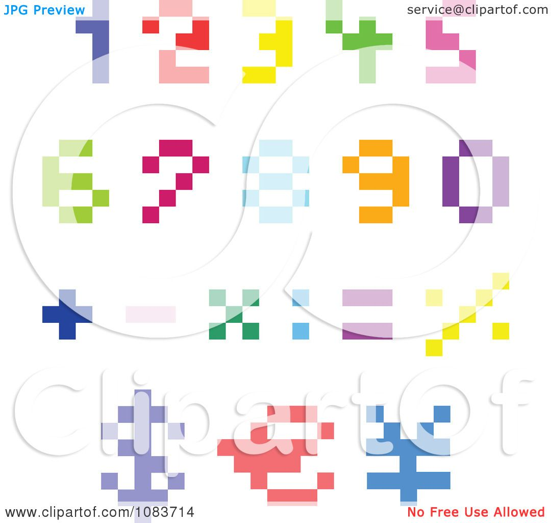 Clipart Colorful Pixel Numbers And Math Symbols - Royalty Free ...