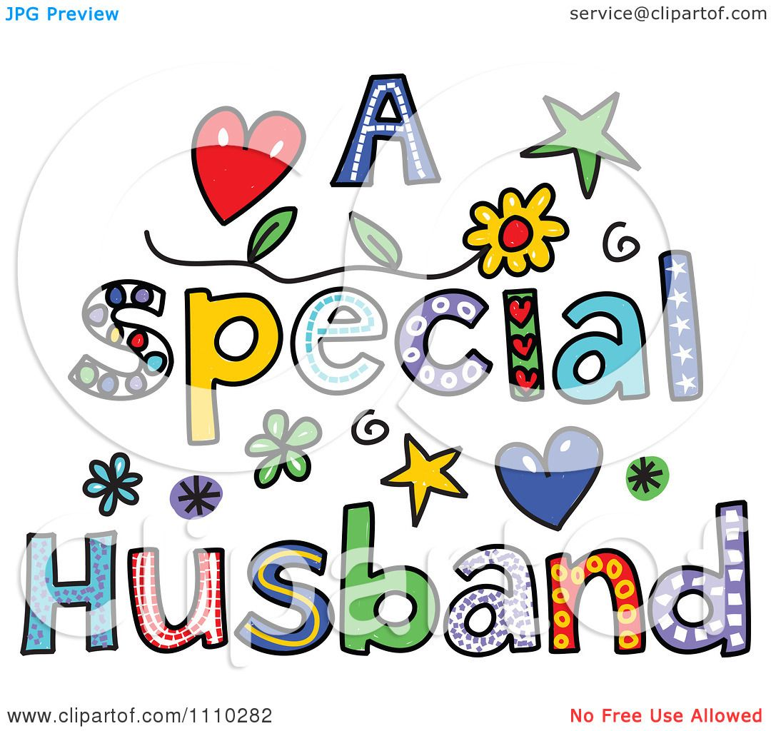 Clipart Colorful Sketched A Special Husband Text
