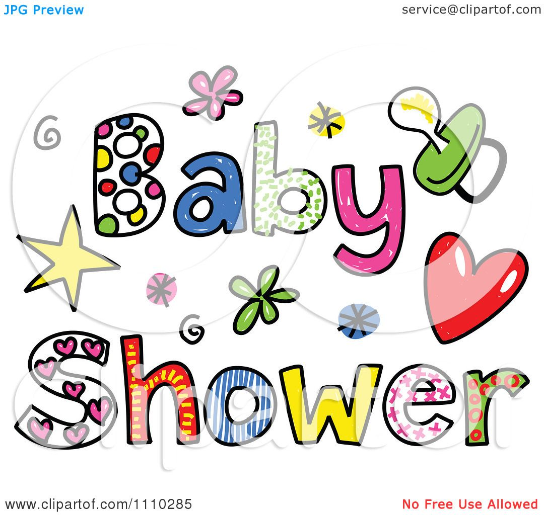 clipart colorful sketched baby shower text