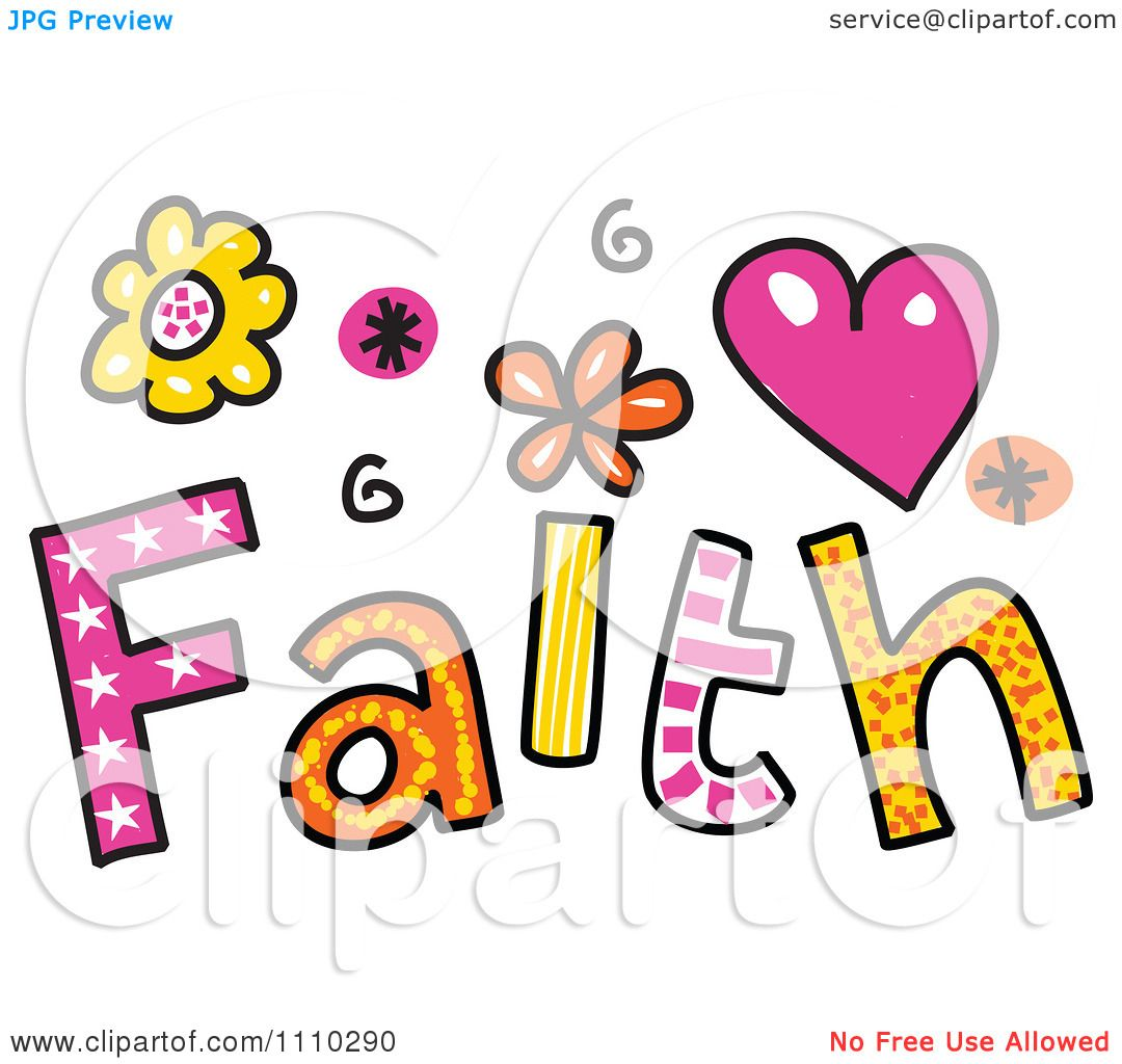 Clip Art Faith Clipart clipart colorful sketched faith text royalty free vector illustration by prawny