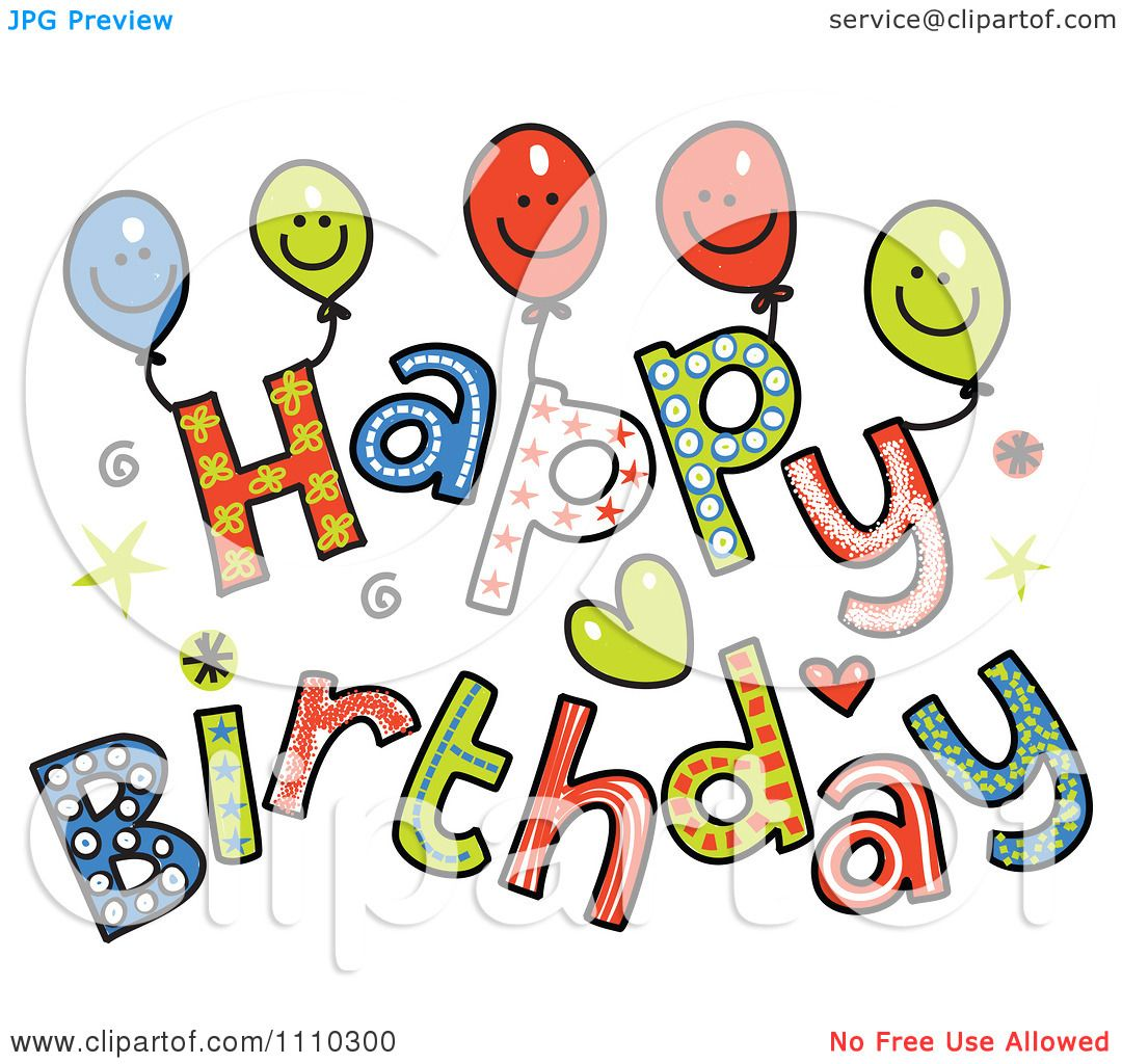 Clipart Colorful Sketched Happy Birthday Text 2