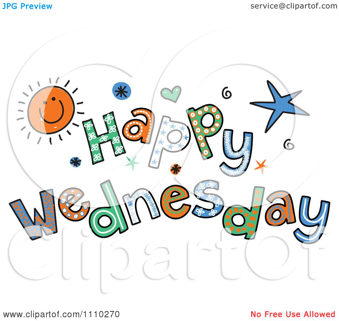clipart colorful sketched happy wednesday text