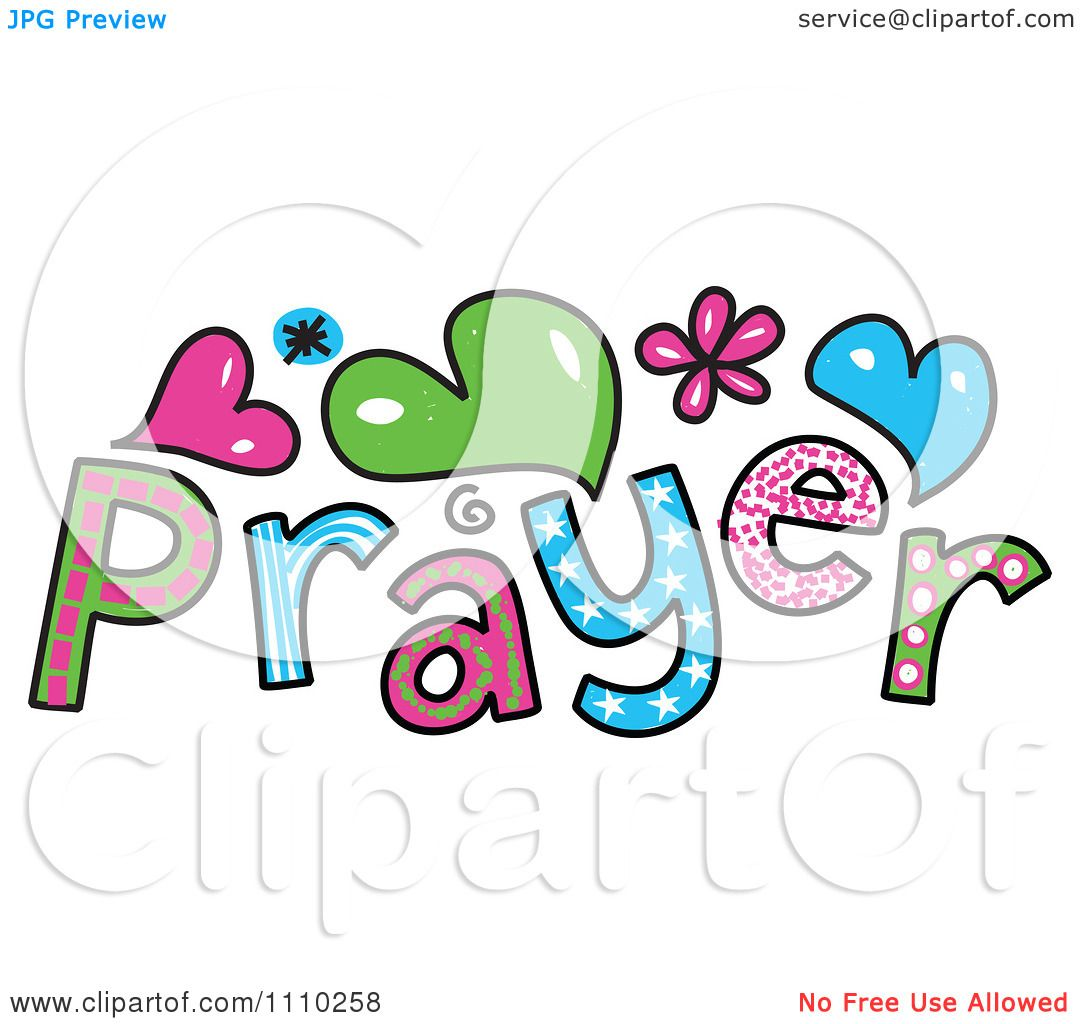clipart colorful sketched prayer text