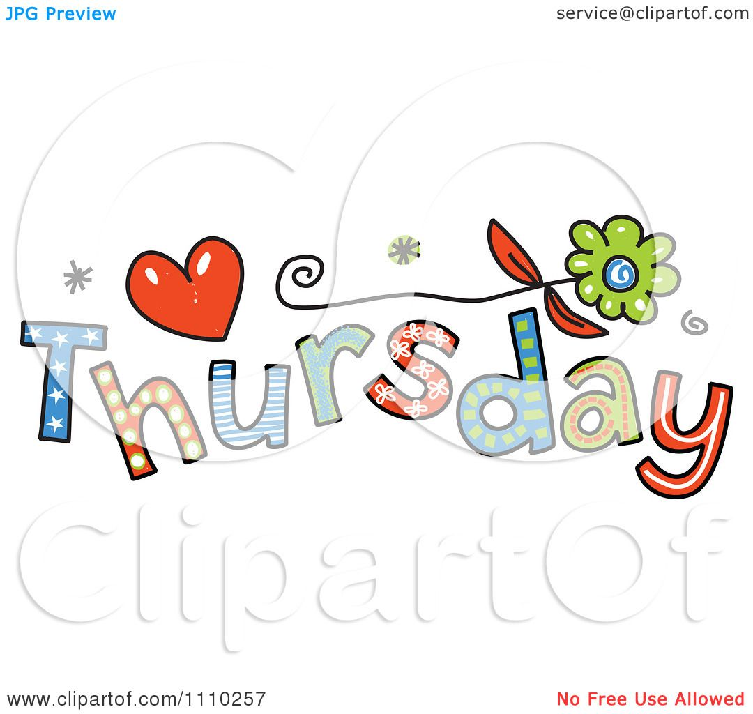 Clip Art Thursday Clip Art clipart colorful sketched thursday text royalty free vector illustration by prawny