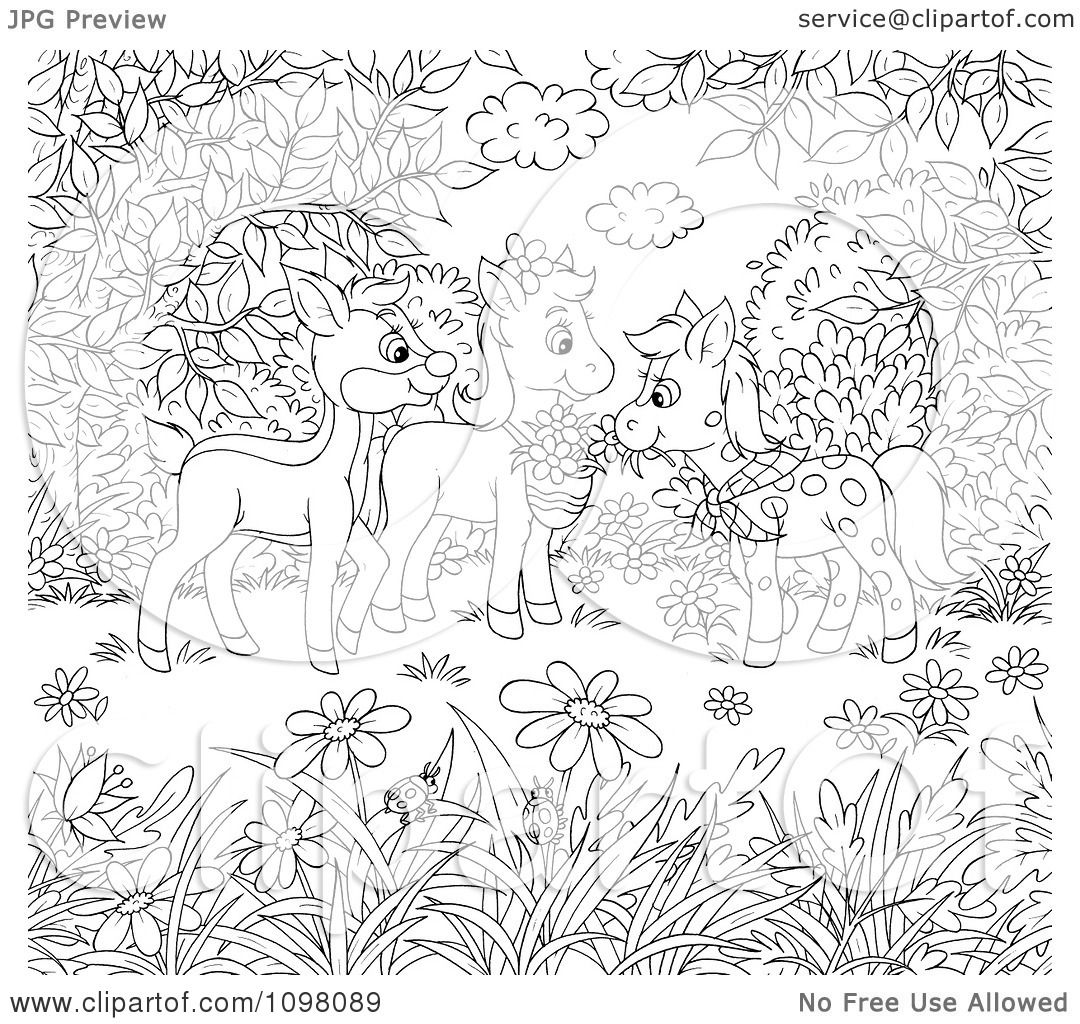 Clipart Coloring Page Of Horses