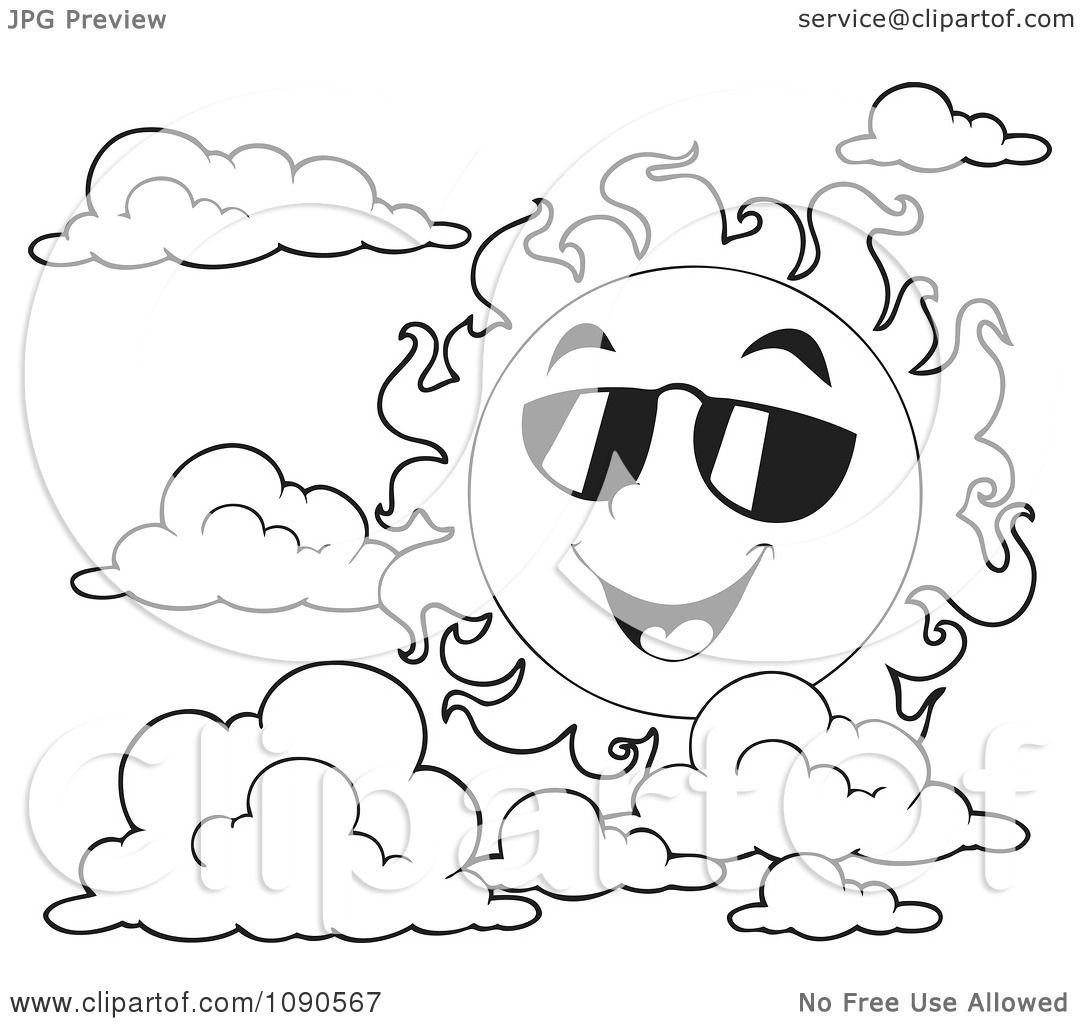 clipart coloring page outline of a happy summer sun with shades