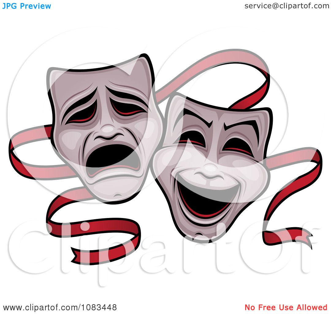 Clipart Comedy And Tragedy Theater Masks And Red Ribbon - Royalty ...