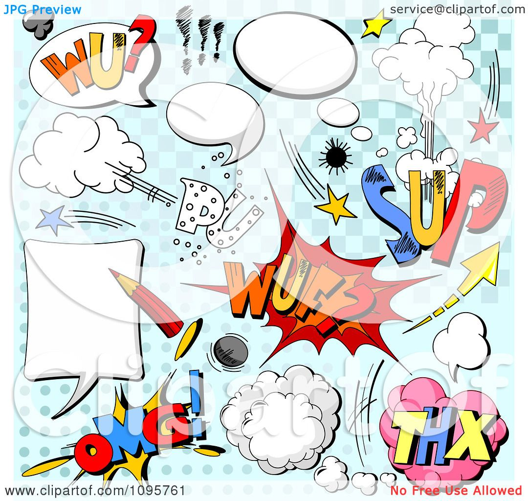 Clipart Comic Sounds And Design Elements Over Blue - Royalty Free ...