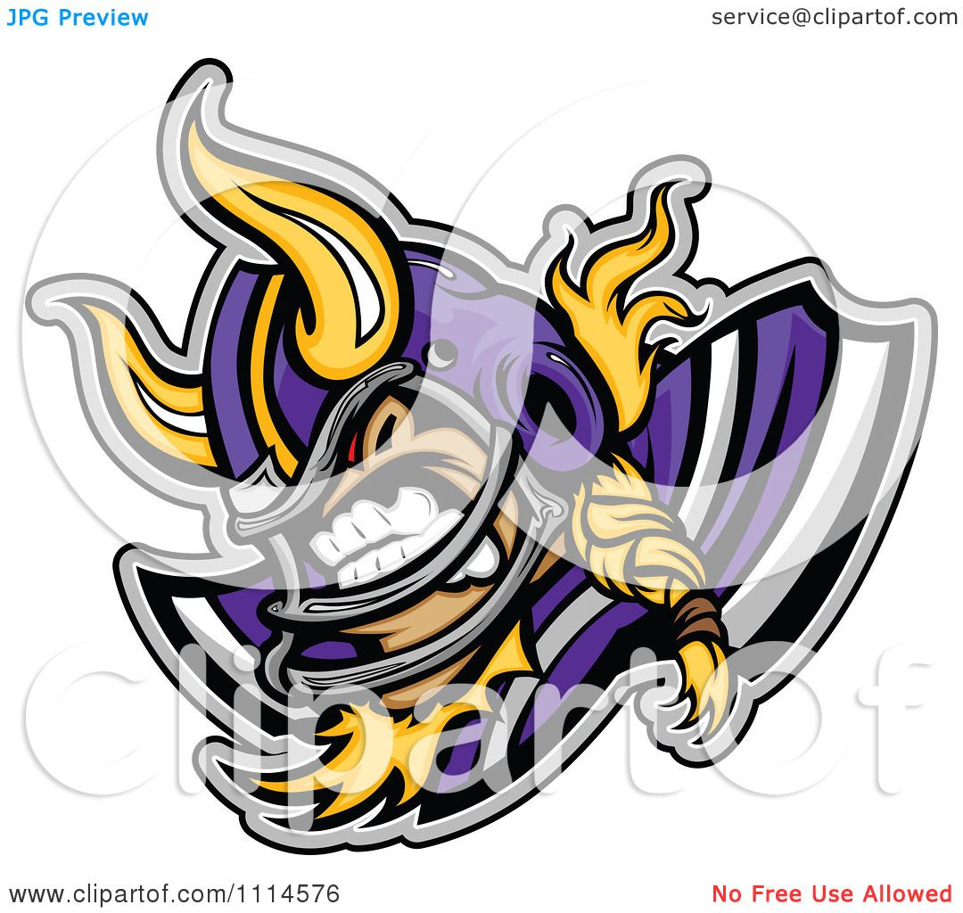 Clipart Competitive Viking Football Player Mascot ...