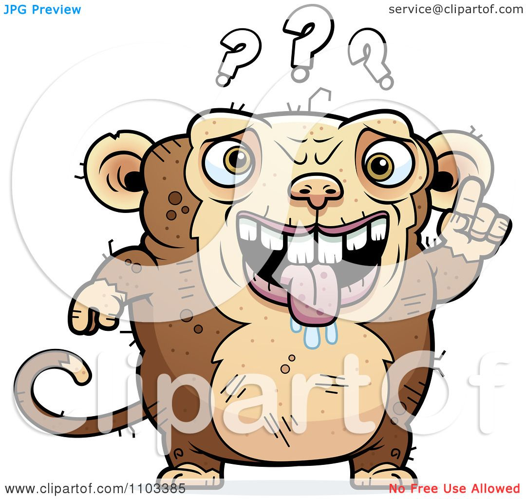 Clipart Confused Ugly Monkey