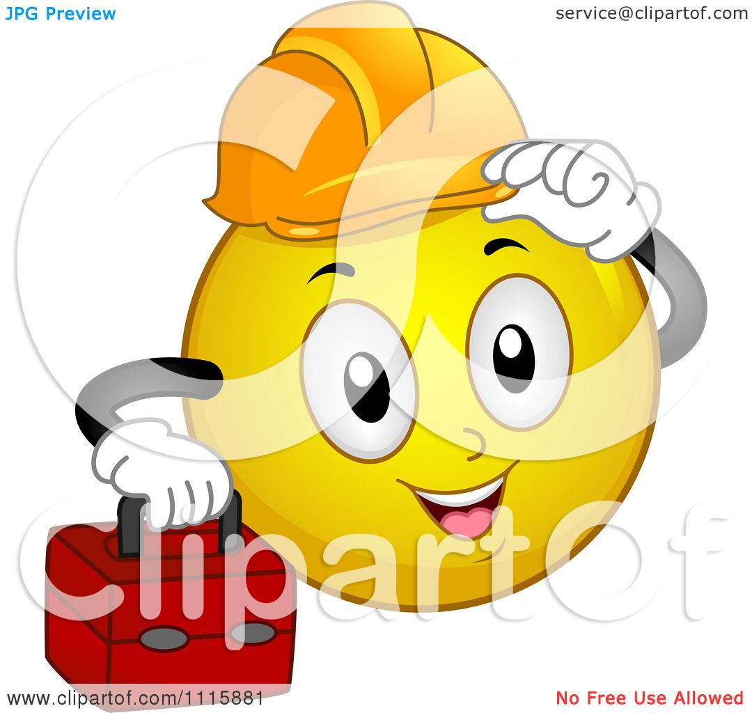 Clipart Construction Worker Smiley Carrying A Tool Box And