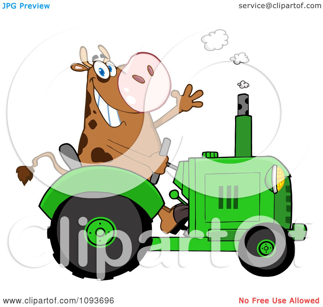 Clipart Cow Farmer Waving And Driving A Green Tractor Royalty Free