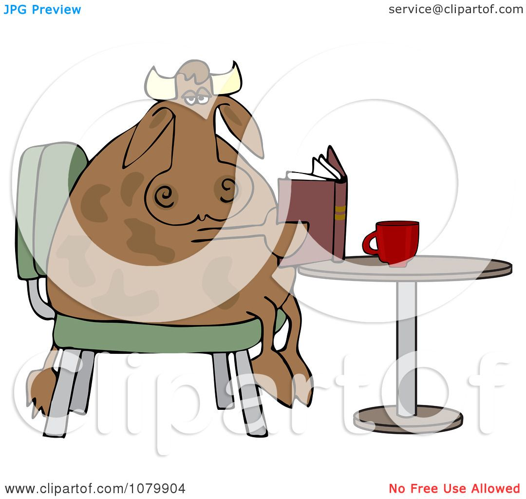 Clip Art Coffee Table: Clipart Cow Sitting At A Table And Reading A Book With
