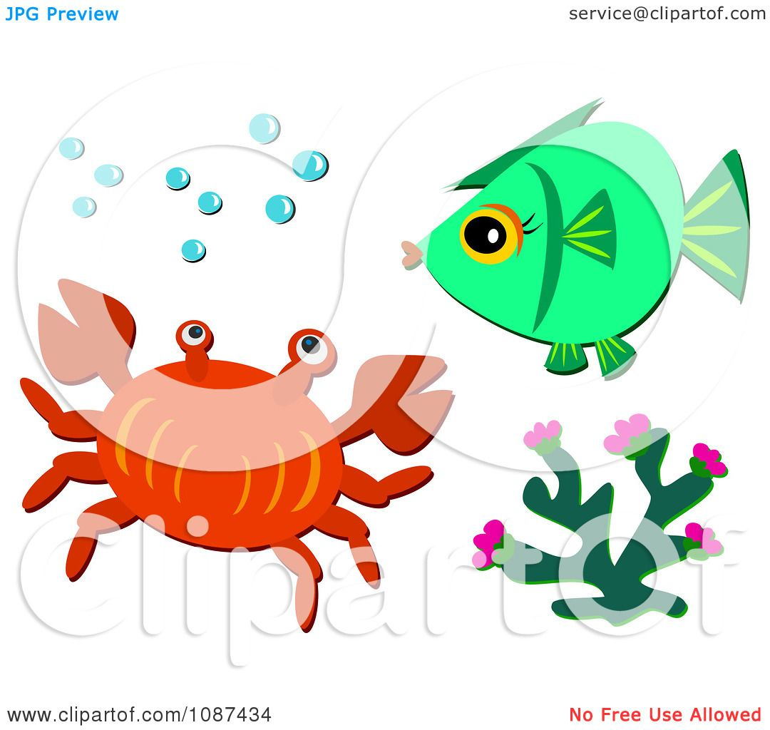 clipart crab coral and fish with bubbles royalty free vector rh clipartof com Plankton Clip Art Sun Clip Art