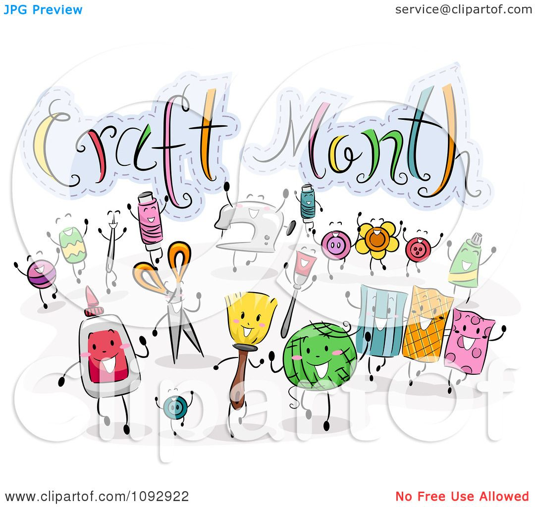 Clipart crafting items around craft month text royalty - Clipart illustration ...