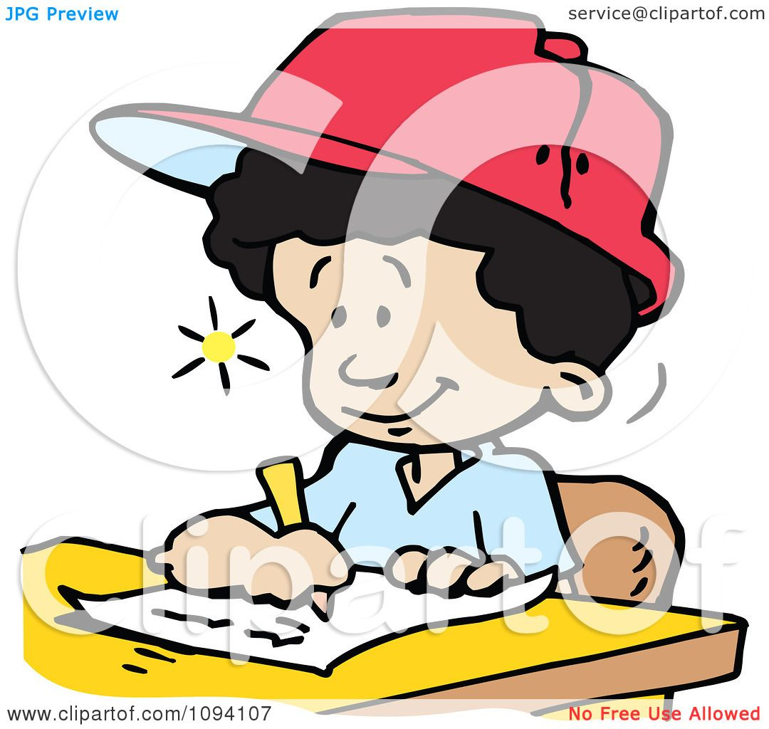 Clipart Creative School Boy Writing Down Ideas Royalty