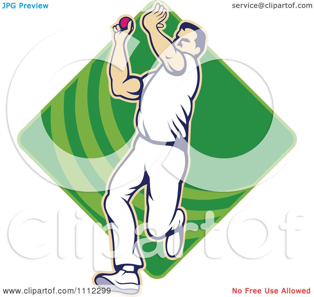 Clipart Cricket Player Bowling With A Ball Over A Green ...