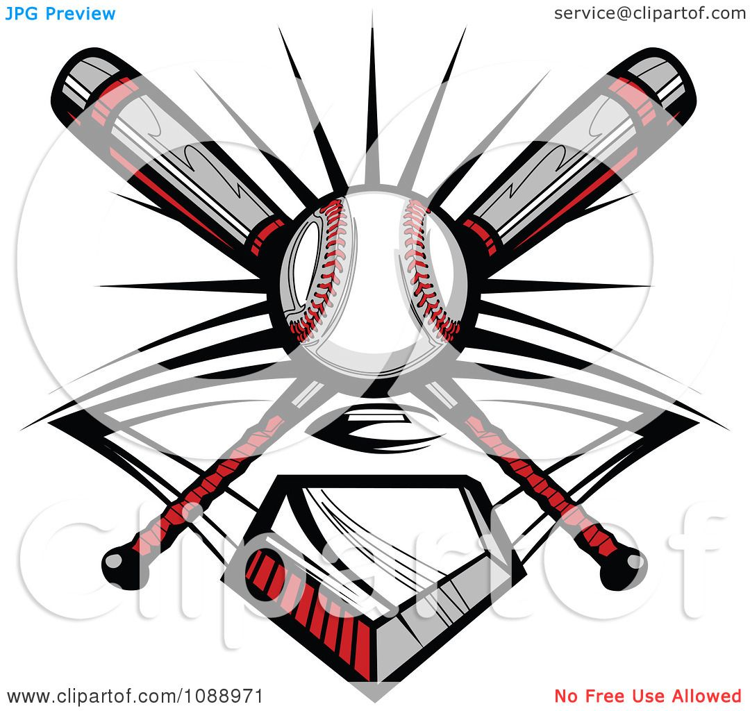 Clipart Crossed Baseball Bats A Ball And Diamond Royalty