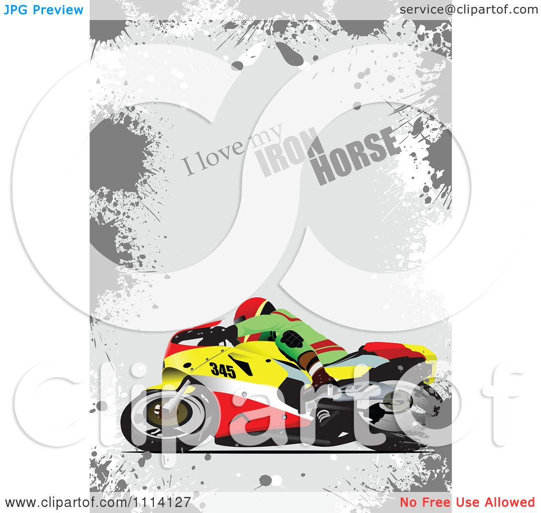 clipart crotch rocket motorcycle rider and i love my iron horse text on gray grunge