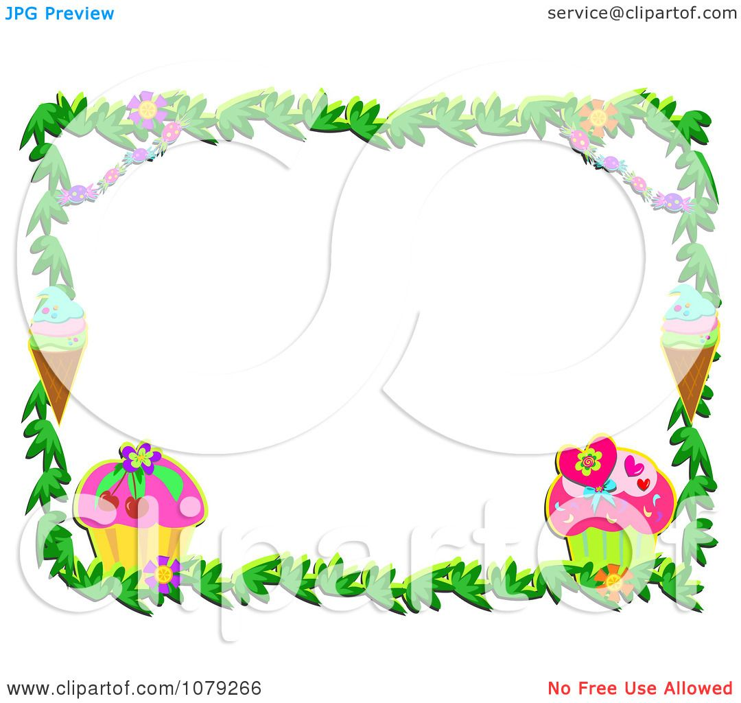 Clipart Cupcake Ice Cream And Floral Border Royalty Free Vector Illustration 10241079266