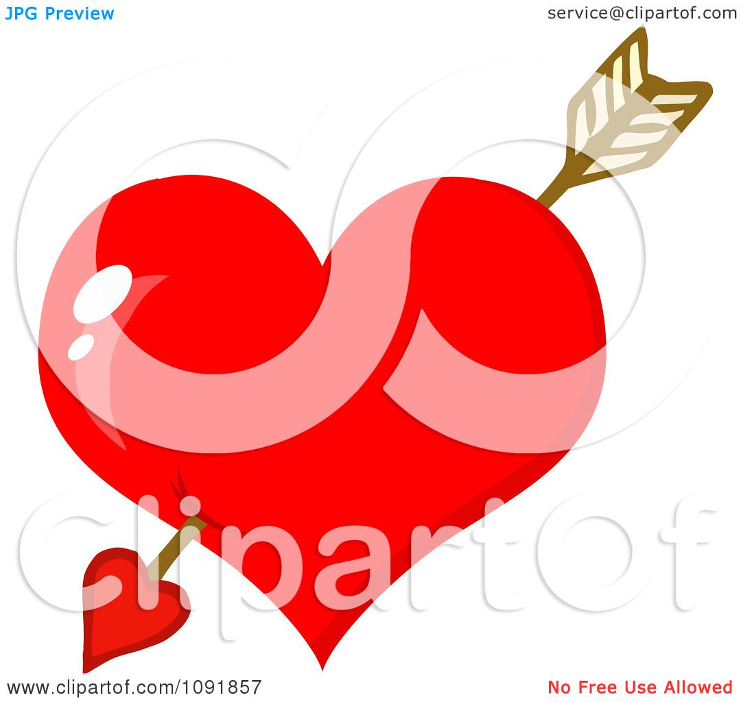 Clipart Cupids Arrow Through A Shiny Red Valentine Heart ...