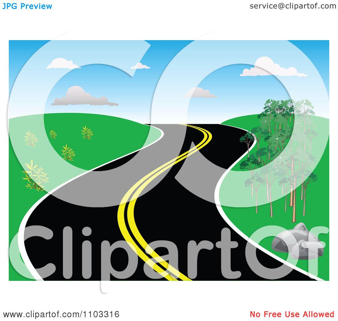 Clipart Curvy Hillside Road Royalty Free Vector