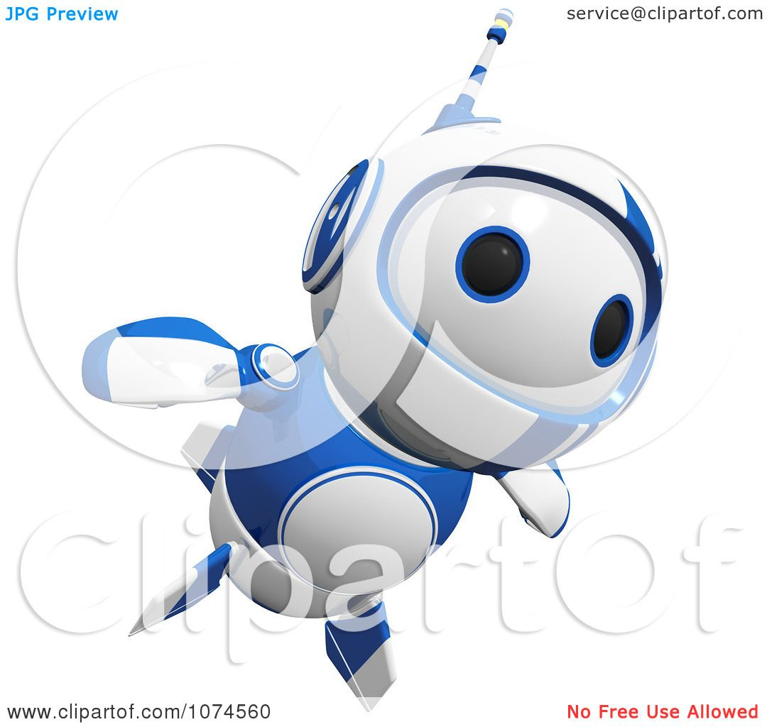 Clipart Cute 3d Blueberry Robot Flying Royalty Free Cgi