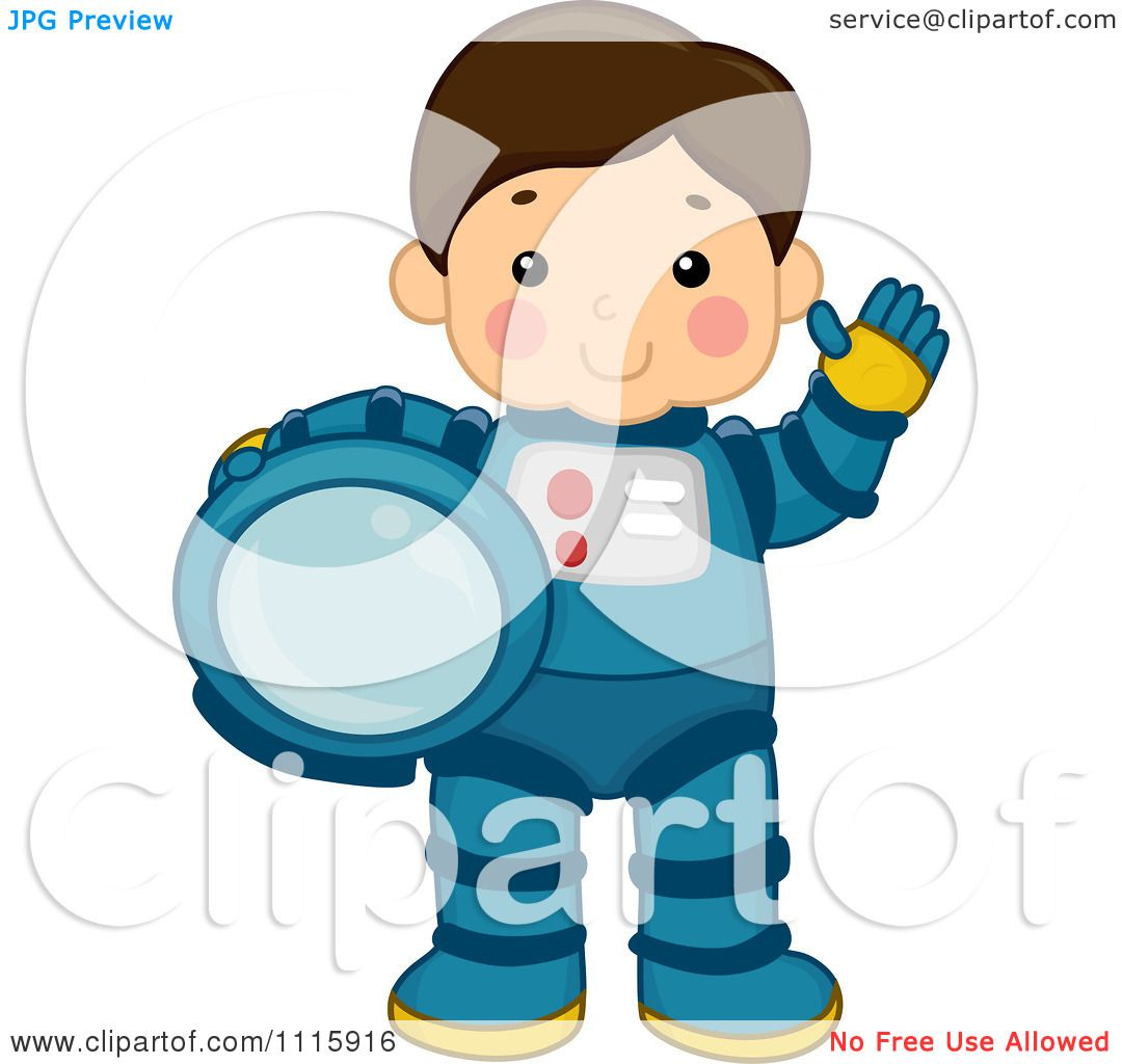 Clipart cute astronaut boy waving and holding his helmet - Clipart illustration ...