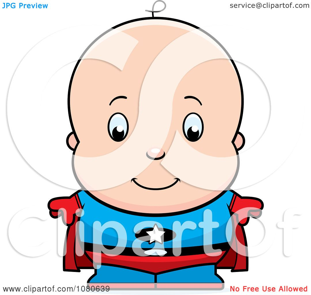 Clipart Cute Baby Boy Super Hero Royalty Free Vector Illustration By