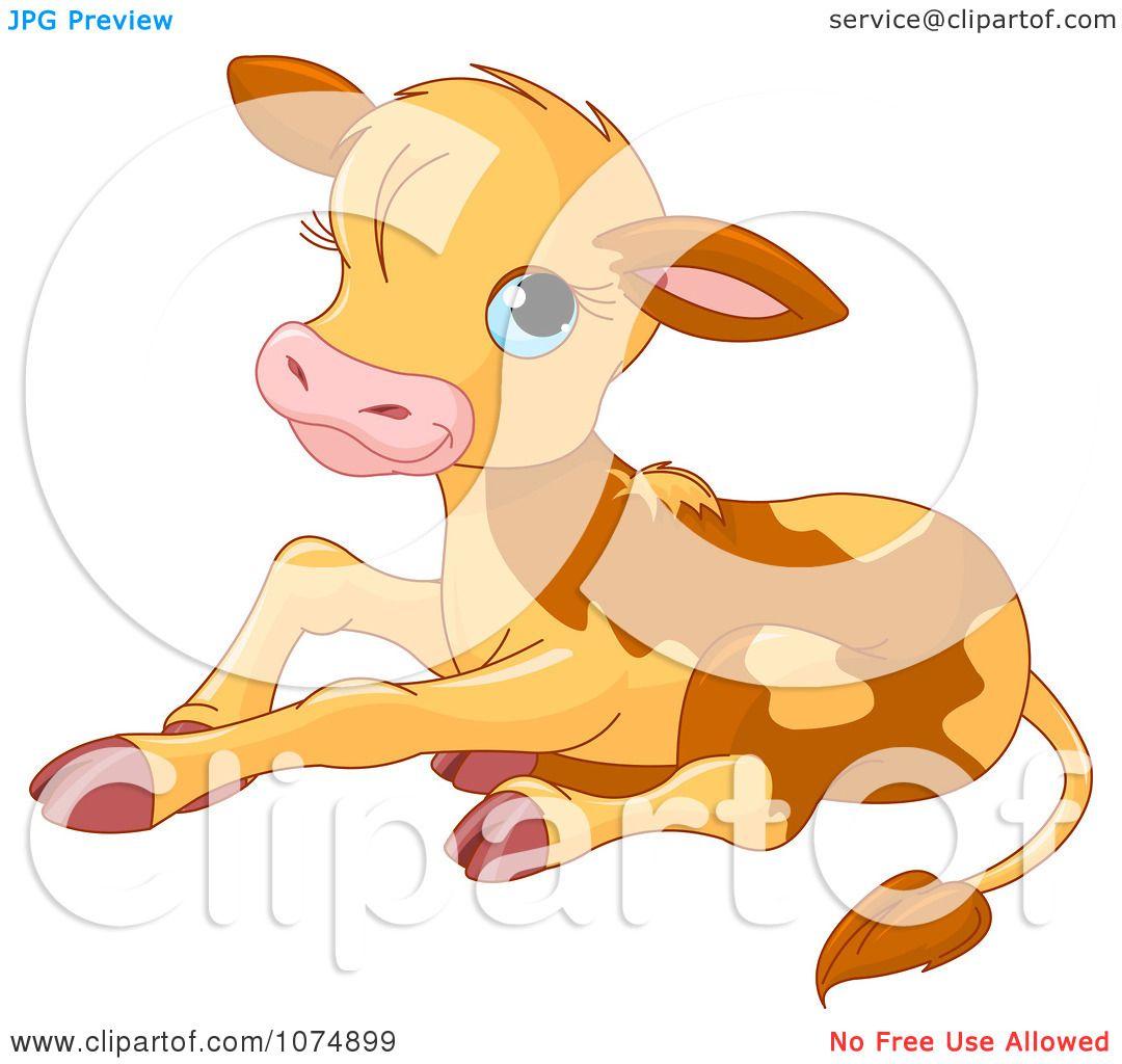 Clipart Cute Baby Calf Cow Sitting