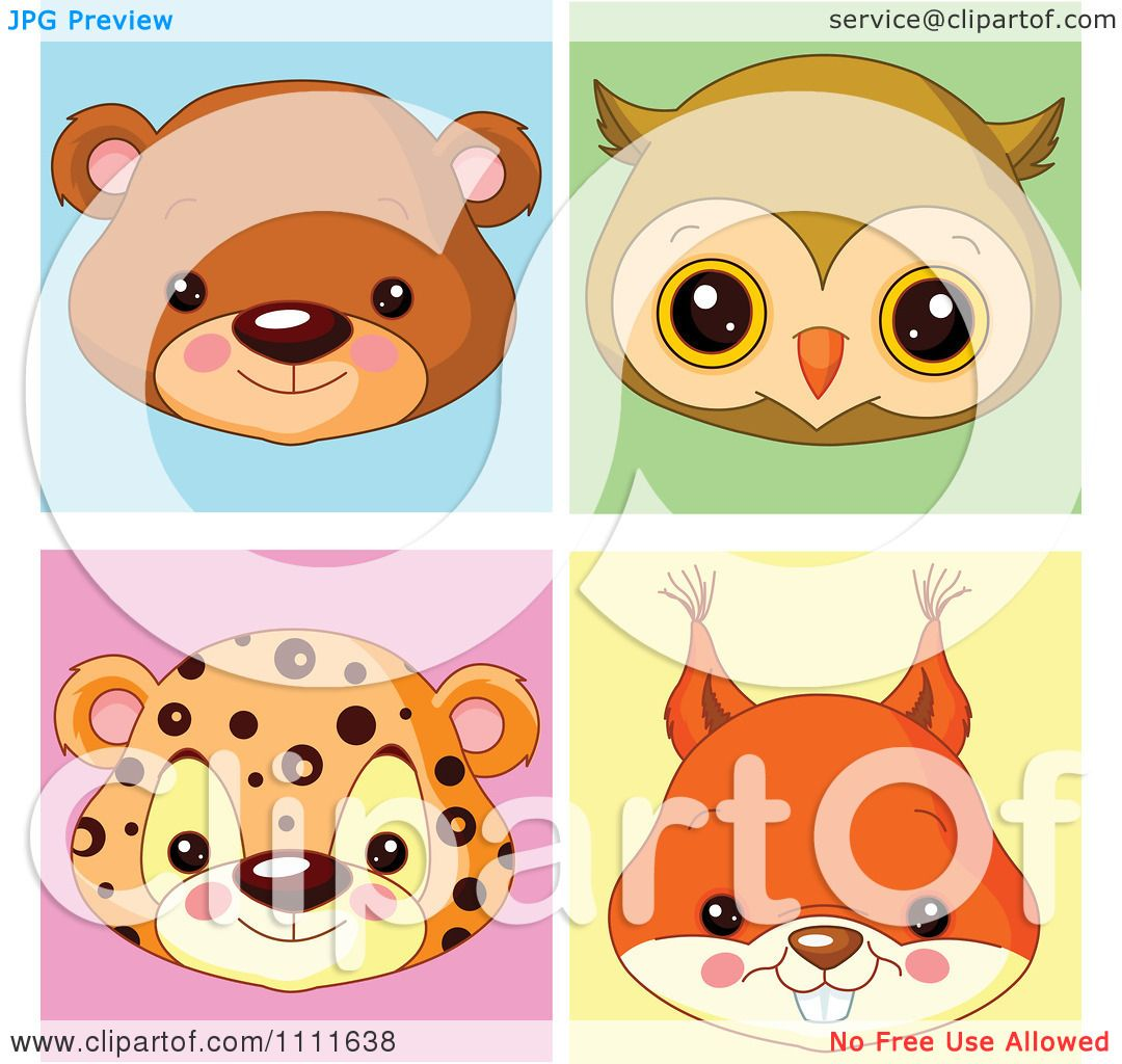 Clipart Cute Bear Owl Leopard And Squirrel Avatar Faces - Royalty ... for Clipart Leopard Cute  157uhy