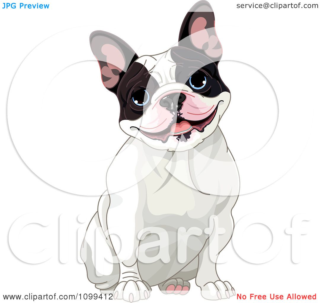 8a8cbf10d2e1 Clipart Cute Black And White French Bulldog Sitting And Smiling - Royalty  Free Vector Illustration by