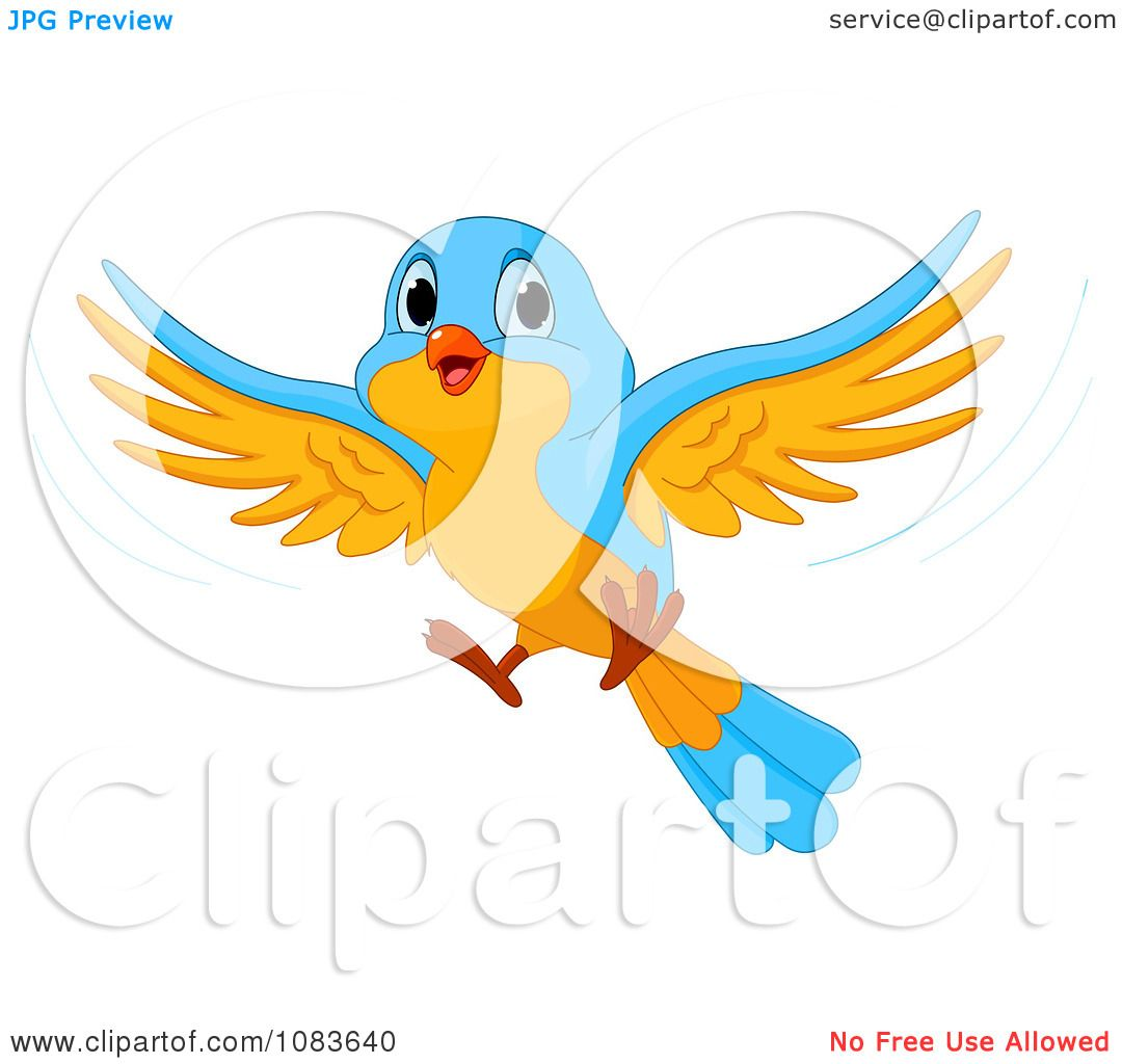 Flying Blue Bird Clipart Clipart cute blue and orange
