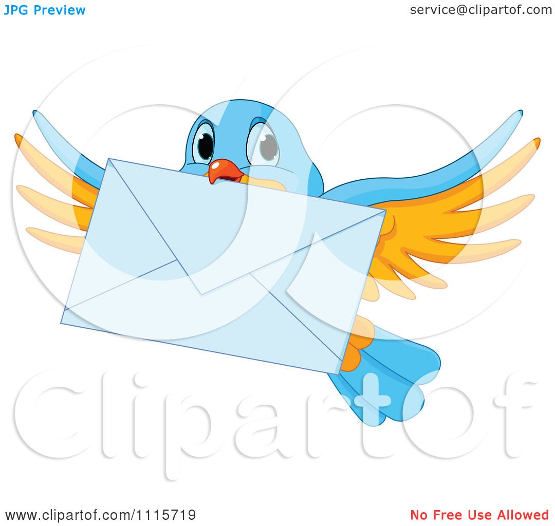 Clipart Cute Blue And Yellow Bird Flying With An Envelope ...
