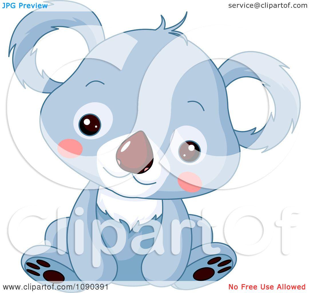 Clipart Cute Blue Baby Zoo Koala Sitting - Royalty Free ...