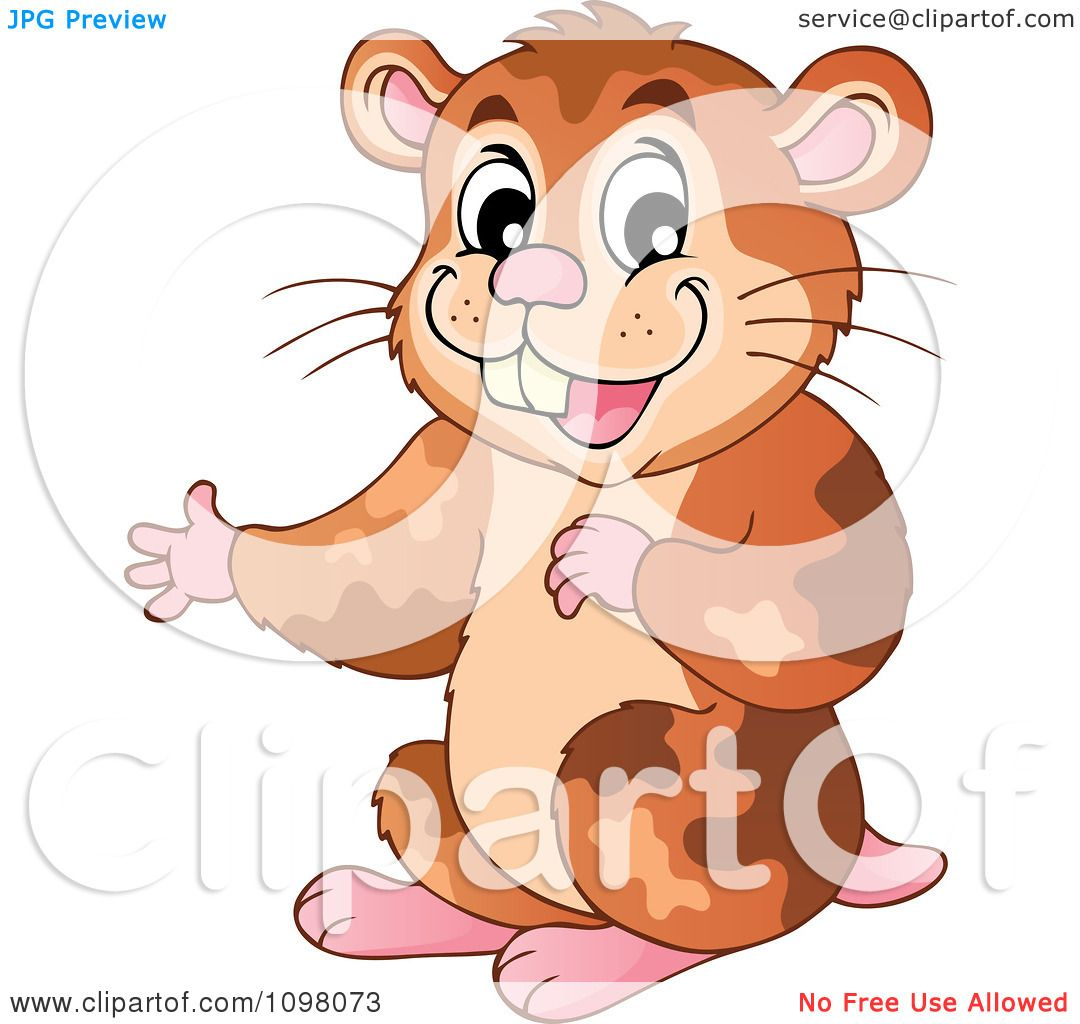 Clipart Cute Brown Hamster Presenting - Royalty Free ...