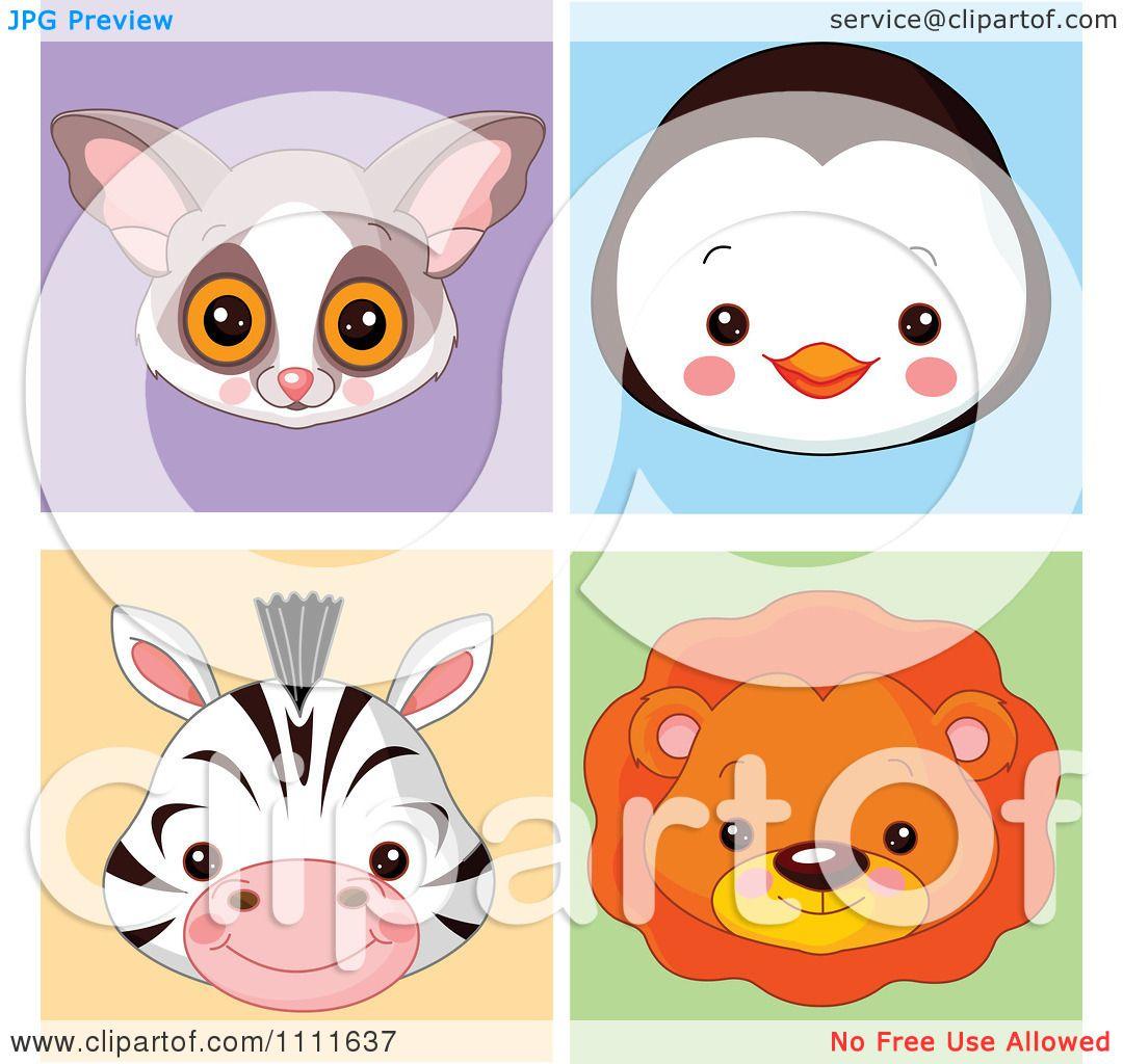Clipart Cute Bush Baby Penguin Zebra And Lion Avatar Faces