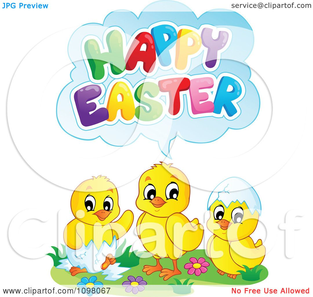 Clipart Cute Chicks Saying Happy Easter - Royalty Free ...