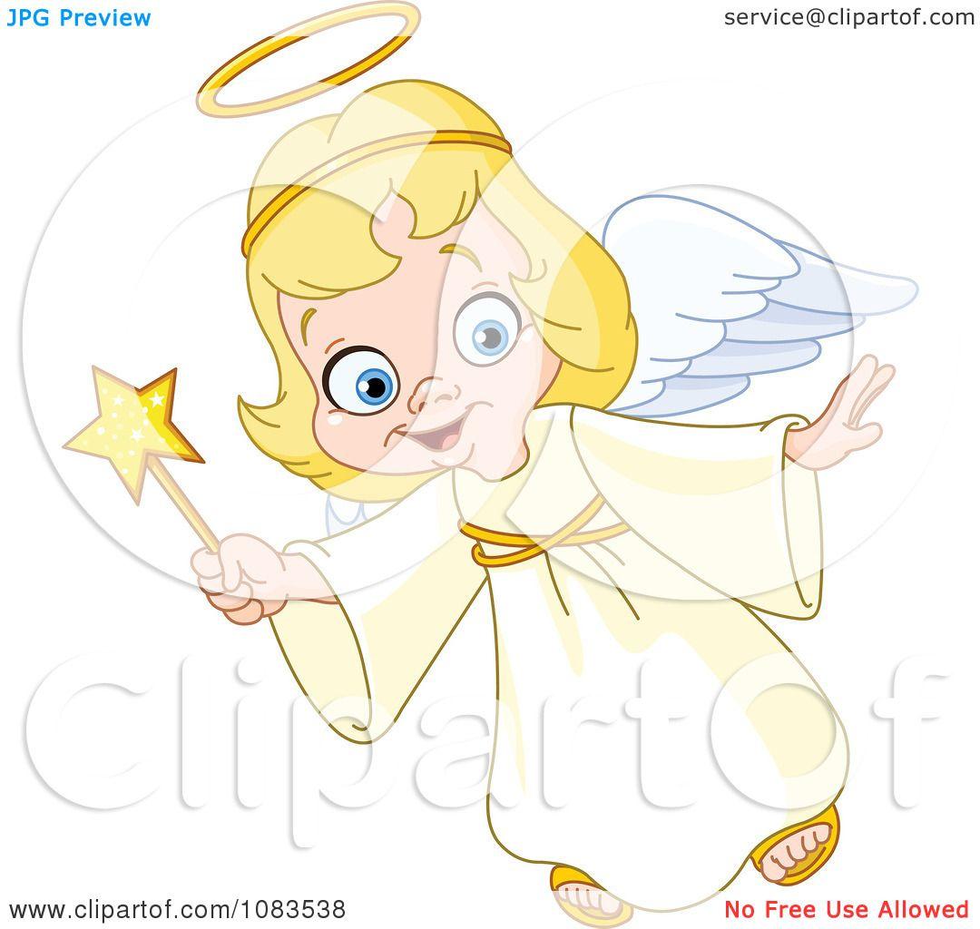 angel christmas cute clipart flying illustration vector royalty wand yayayoyo copyright