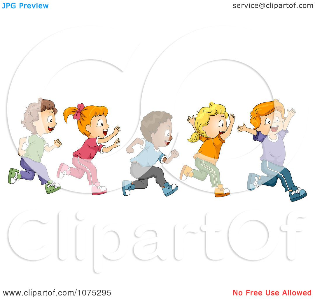 Clipart Cute Diverse School Children Running A Marathon