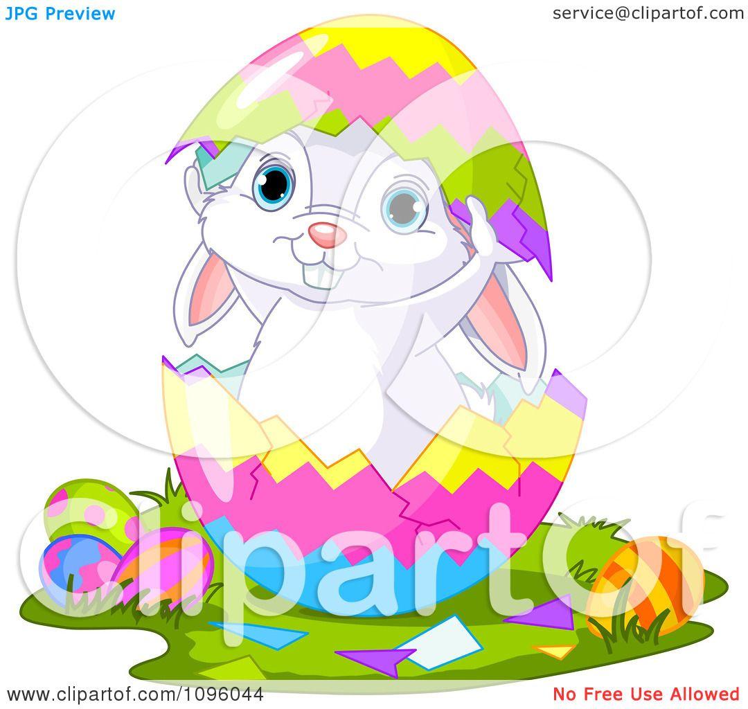 Clipart Cute Easter Bunny Standing Inside A Split Egg ... Easter Clip Art Free Cute